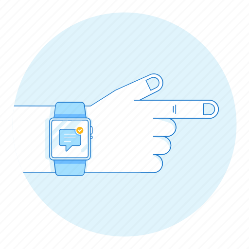 device, gadget, hand, message, smart, watch icon