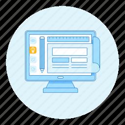 design, development, idea, layout, pencil, web icon