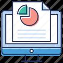 analytics, data analysis, online analysis, online business analysis, pie graph icon