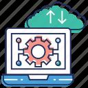 back and development, cloud development, cloud engineering, cloud storage, laptop settings icon