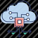 cloud computing, cloud development, cloud server connection, cloud technology, data transfer icon