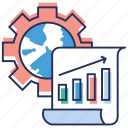 analytics, bar chart, business growth, data management, pie graph icon