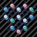 arrangement, chain network, connection, haxon structure, molecular structure icon