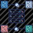 data bank, data networking, data sharing, database connection, database network icon