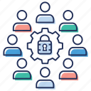 business network security, communication security, group security, privacy, user security icon