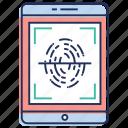 biometric, fingerprint reader, fingerprint scanner, identification, identity scanner icon