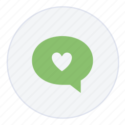 bubble, chat, heart, help, love, message, support icon