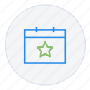 calendar, date, event, important, schedule, star, time icon