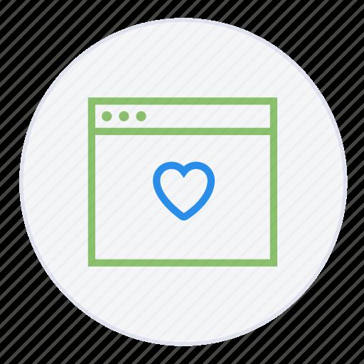 bookmark, browser, desktop, favourite, heart, internet, online icon