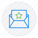 bookmark, communication, email, favourite, message, save, star icon