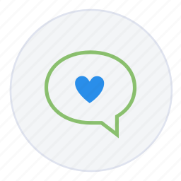 bubble, communication, email, favourite, heart, love, message icon