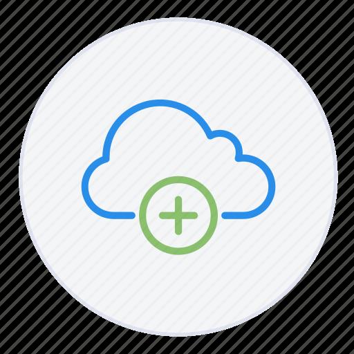 add, cloud, data, hosting, new, plus, storage icon