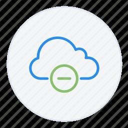 cloud, computing, data, delete, disconnect, minus, remove icon
