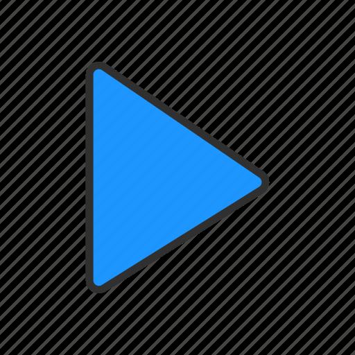 arrow, navigator, play video, video icon