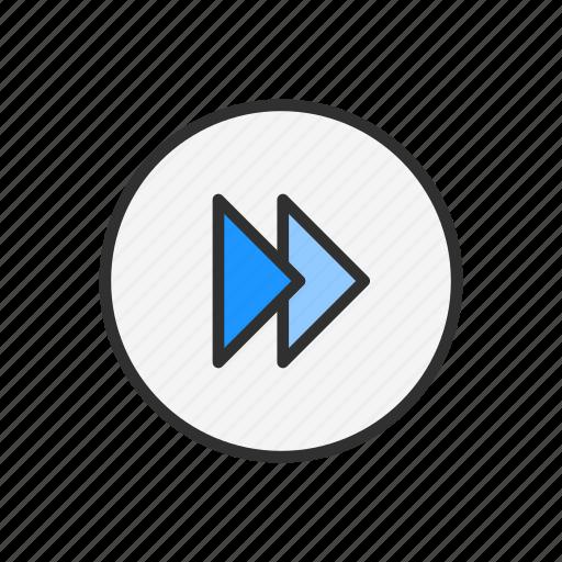fast forward, forward, next, play video icon