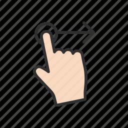 arrow right, hand, pointer, swipe right icon
