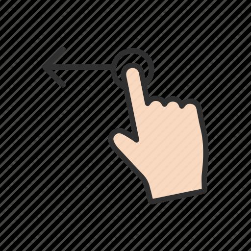 arrow, hand, pointer, swipe left icon