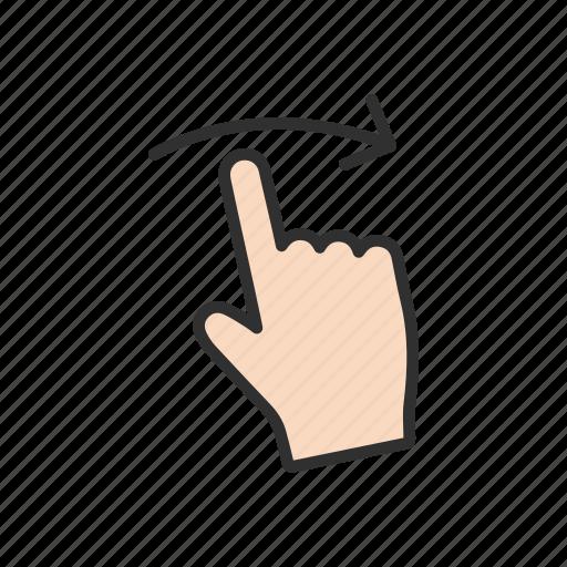 arrow, hand, pointer, swipe right icon