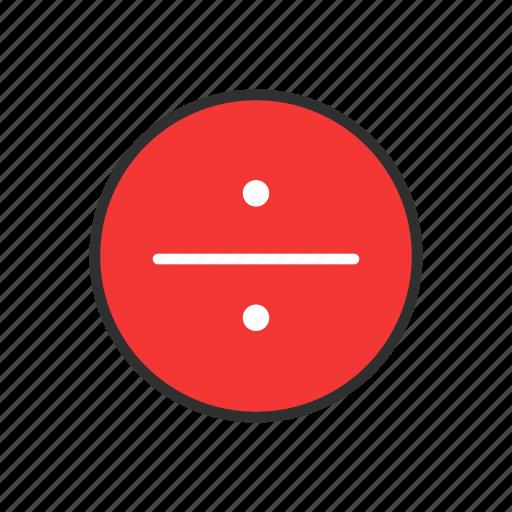 circle, divide, division, math icon