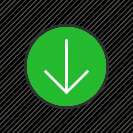 arrow, circle, down, download icon
