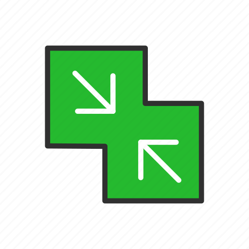 arrow, merge, minimize, pinch icon
