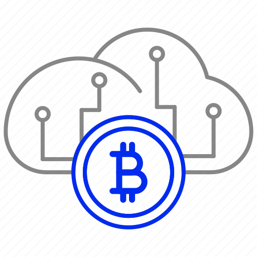 bitcoin, cloud, currency, money, storage, virtual icon