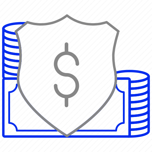 cash, currency, dollar, money, protection, shield icon