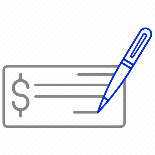 check, money, paper, payment, pen, sheet, write icon