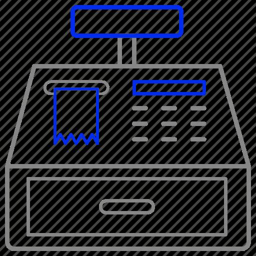 cash, finance, money, printer, receipt, register icon