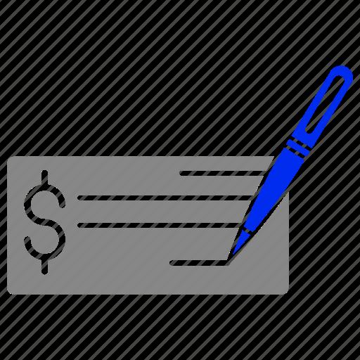 check, money, paper, payment, pen, sheet, write icon