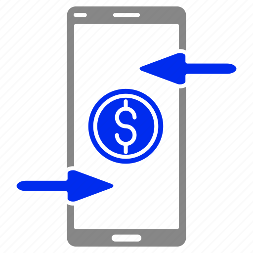 exchange, money, online, remote, reverse, smartphone icon