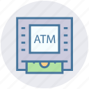 atm, bank, cash, device, dispenser, money, money machine icon