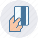 atm card, business, card, credit, hand, payment, restaurant icon
