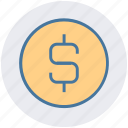 bit coin, business, coin, dollar, finance, money, sign icon