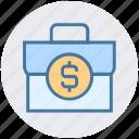 brief case, cash bag, currency bag, dollar case, dollar sign, finance, money bag icon