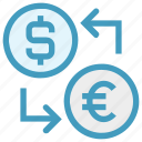 coin, currency, dollar, dollar and euro, euro, money convert, money exchange icon