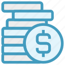 cash, coins, currency, dollar, dollar coins, money, payment icon