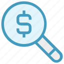 dollar, finance, find, magnifier, money, research, search money icon