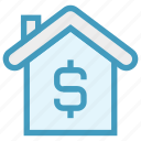 dollar sign, finance, home, house, insurance, property, property value icon