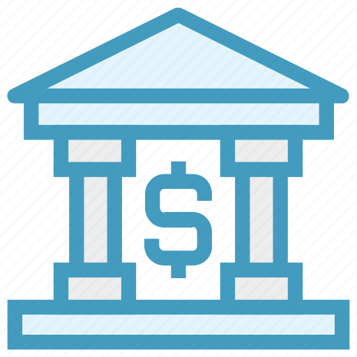bank, banking, building, dollar, finance, investment, money icon
