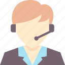 business, call center, communication, headset, operator, service, support icon