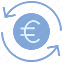 arrows, cash, coin, currency, euro, financial, money icon