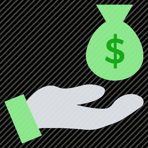 dollar, financial, give, hand, money bag, pay, saving icon