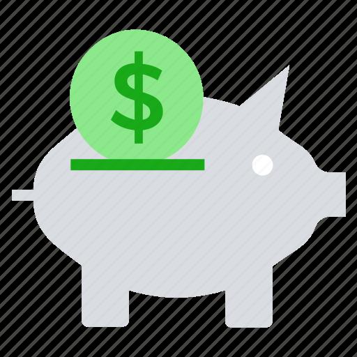 coin, dollar, finance, money, money saving, pig, piggy bank icon