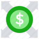 affiliate, arrows, currency, dollar, expand, financial, marketing icon
