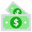 cash, dollar notes, finance, money, payment icon