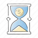 banking, cash, money, sand, time icon