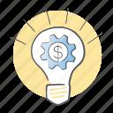 bulb, gear, idea, light, options icon