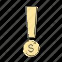 answer, dollar, exclamation, mark, money icon