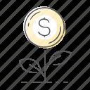 dollar, finance, garden, grow, plant